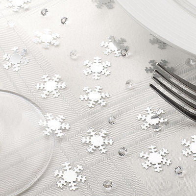 silver glitter snowflakes diamonds table confetti christmas dinner decoration - The Party Postman