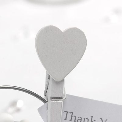 Mini White Wooden Heart Pegs - The Party Postman