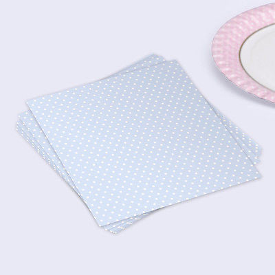 Polka Dot Pastel Blue Paper Napkins - The Party Postman