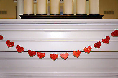 Red Glitter Heart Garland - The Party Postman