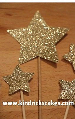 Large Glitter Star Cupcake Toppers - The Party Postman