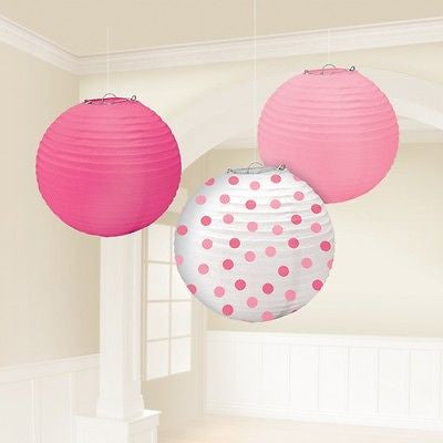 Pink and Polka Dot Paper Lanterns - The Party Postman
