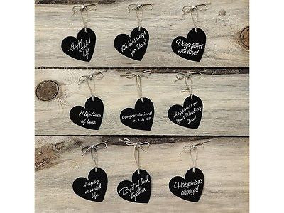 black paper hearts chalkboard effect - The Party Postman