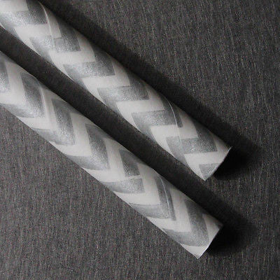 Metallic Chevron Silver Straws - The Party Postman