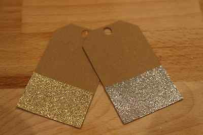 Pack of Gift Tags Wedding Label Brown Glitter Blank Luggage Kraft+Strings - The Party Postman