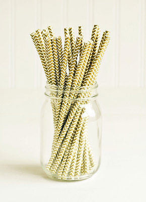 Metallic Chevron Gold Straws - The Party Postman