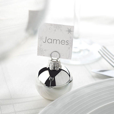 Silver Christmas Bauble Place Name Card Holders Winter Wedding Table