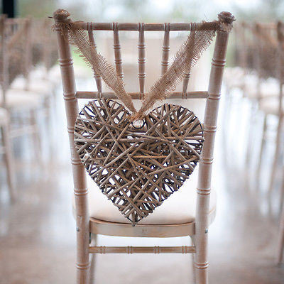 GREY WILLOW HANGING HEART LARGE for wedding decorations and accessories - The Party Postman