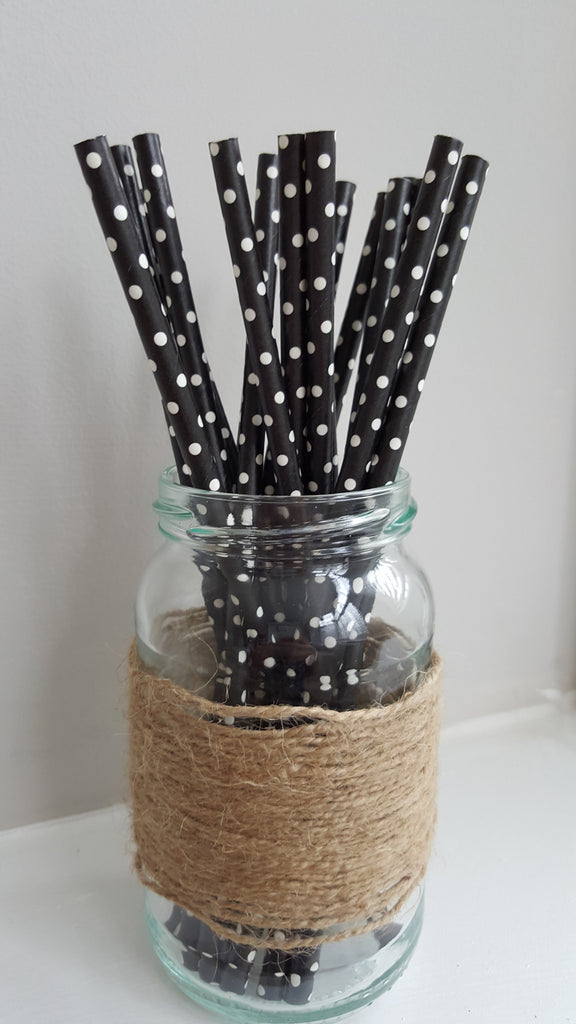 Black and White Polka Dot Straws - The Party Postman