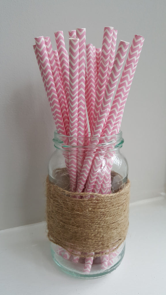 Pink and White Chevron Straws - The Party Postman