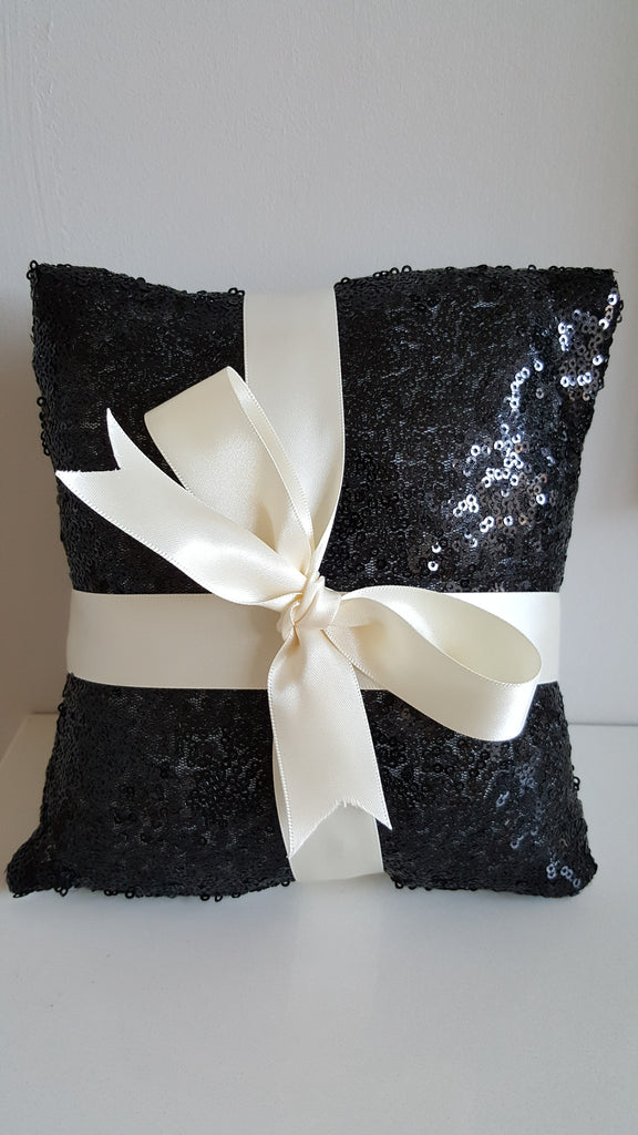 Black Sequinned Ring Bearer Pillow for Weddings