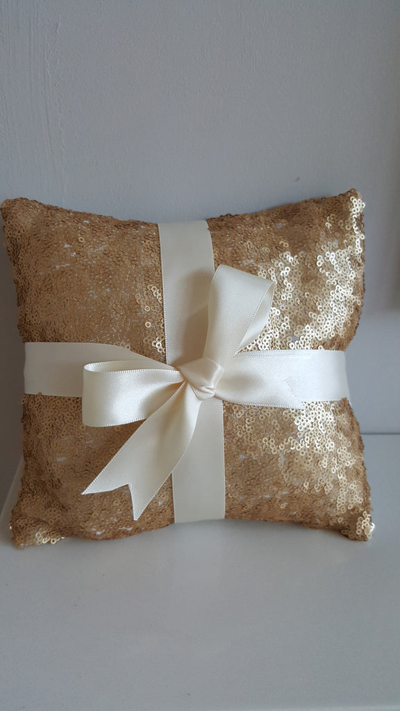 Ring Bearer Pillow for Weddings in Gold Sequin and Ivory Satin Bow
