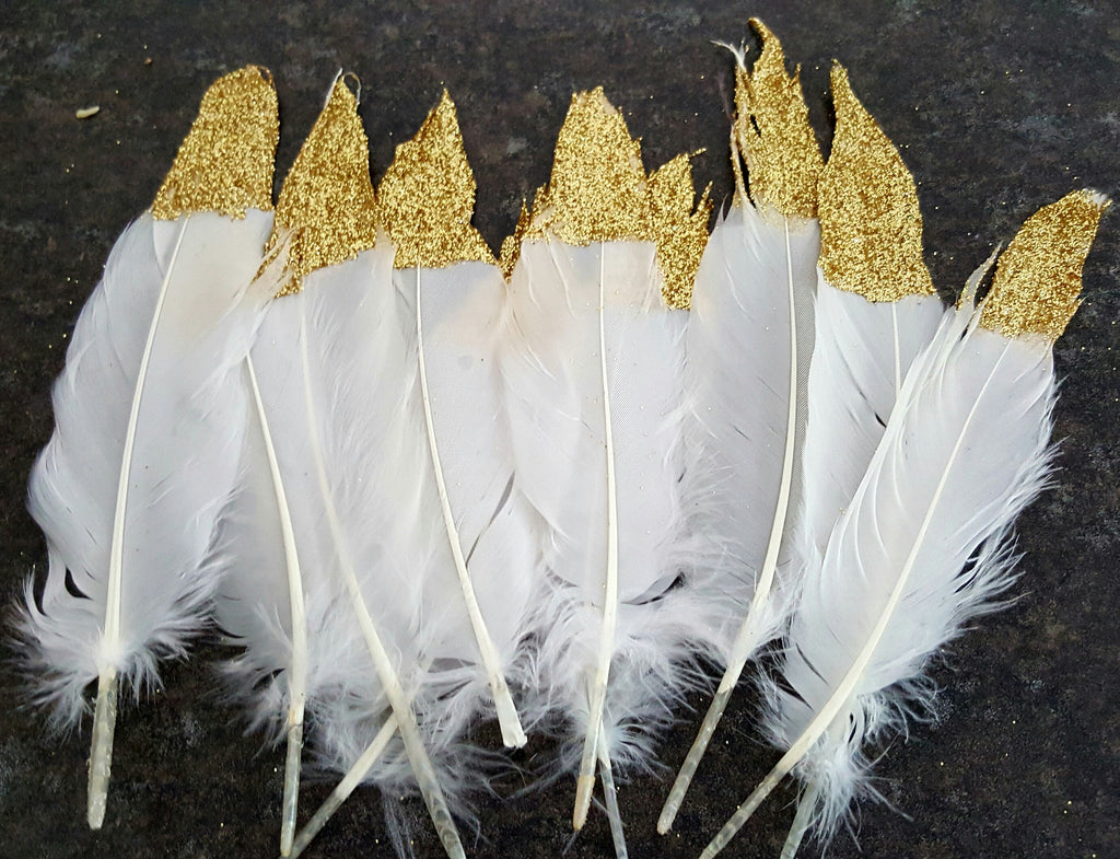 Gold Glitter Dipped Feathers - The Party Postman