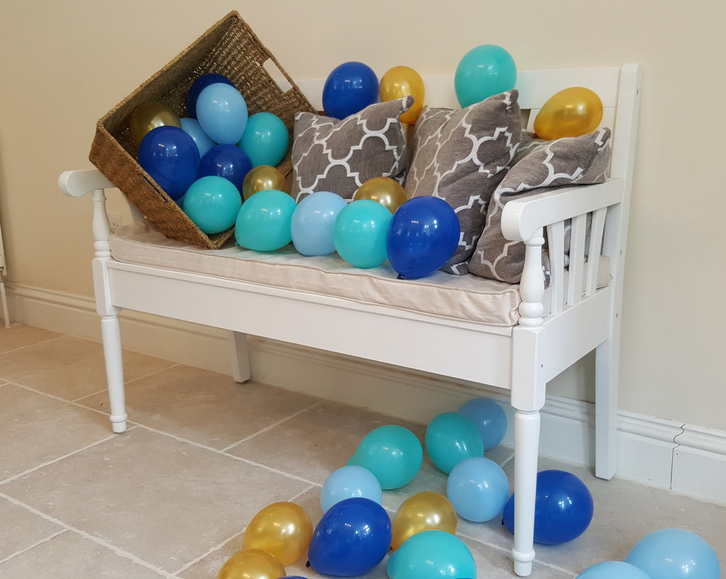 "5"" Sky Blue, Turquoise, Navy and Gold Air Fill Only Balloons - The Party Postman"