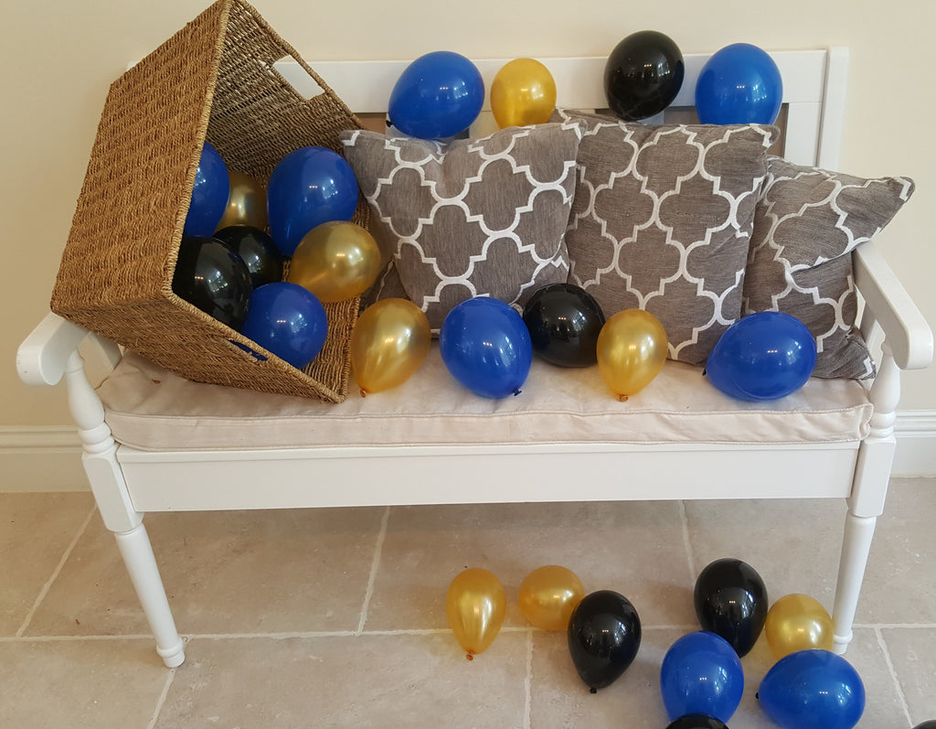 "5"" Navy, Gold & Black Air Fill Only Balloons - The Party Postman"