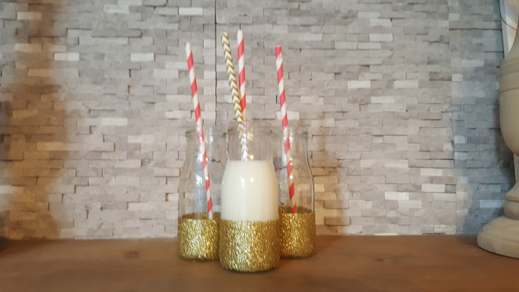 Santa's Milk Bottle with Gold Chevron Straw - The Party Postman