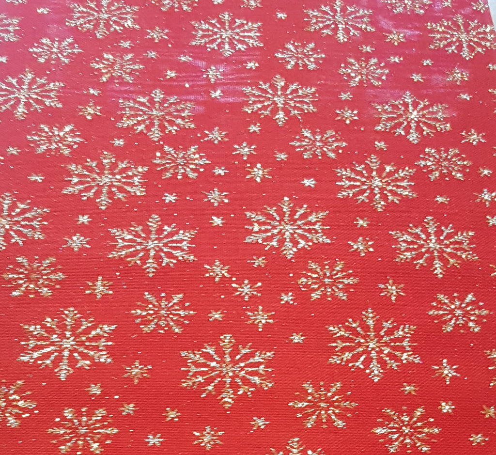 Gold and Red Glitter Snowflake Fabric - The Party Postman