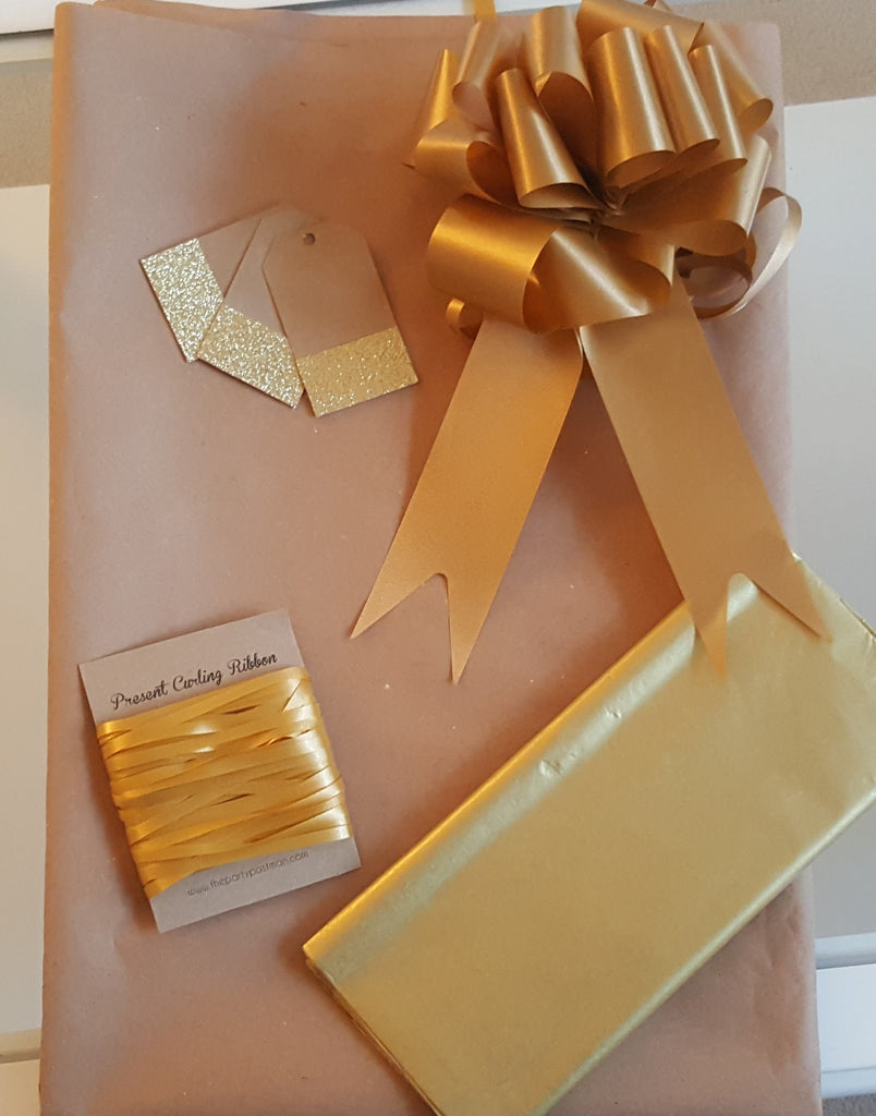 Kraft Wrapping Paper With Gold Tags, String and Bow - The Party Postman