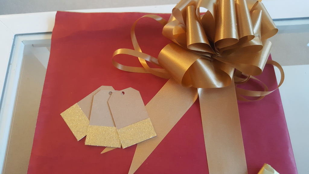 Cerise Kraft Wrapping Paper With Gold Tags, String and Bow - The Party Postman