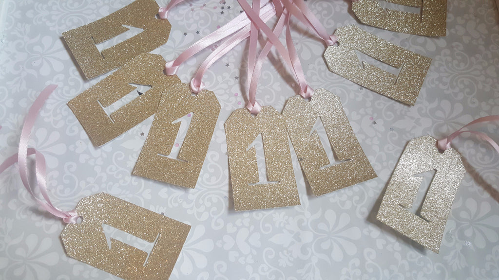 Pink and Gold Glitter Number Tags - The Party Postman