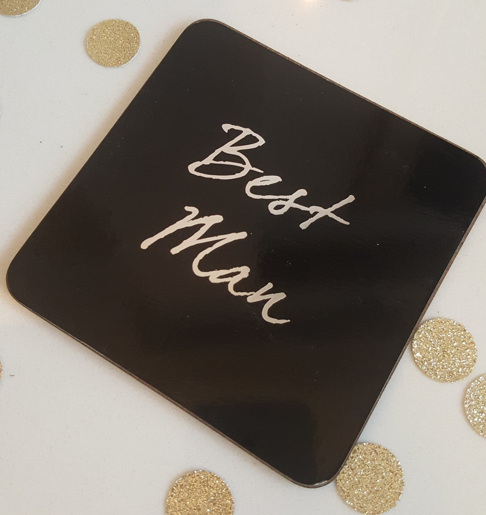 Best Man Shot Glass & Coaster - The Party Postman
