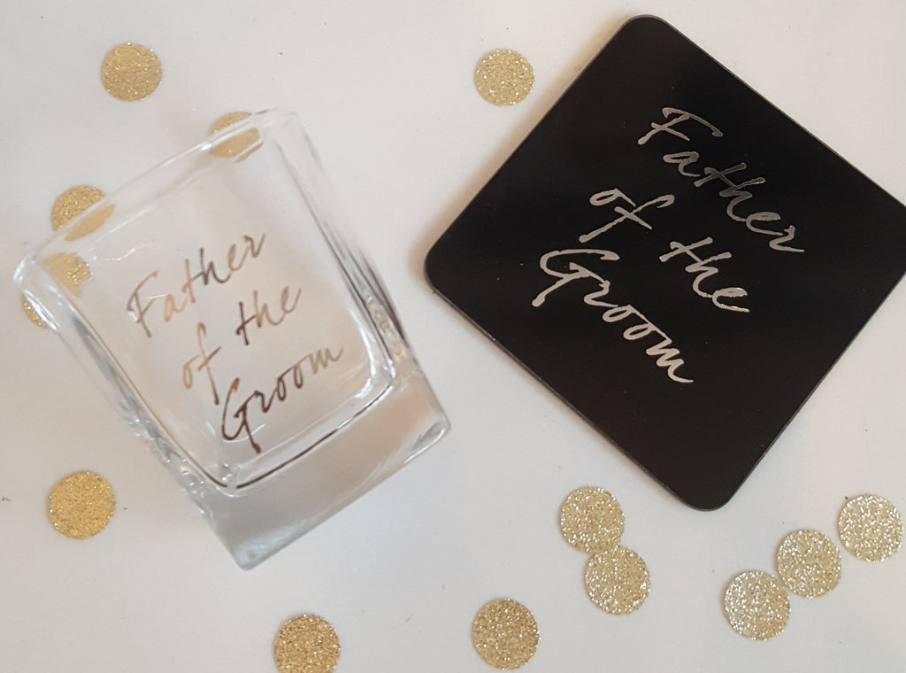 Father of the Groom Shot Glass & Coaster - The Party Postman