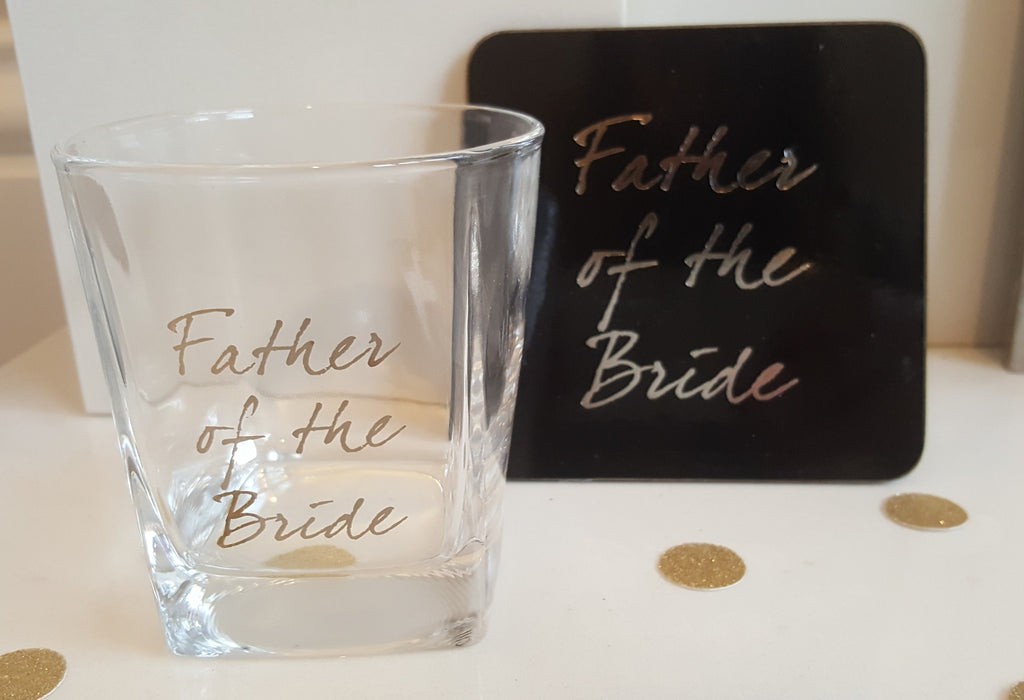 Father of the Bride Shot Glass & Coaster - The Party Postman