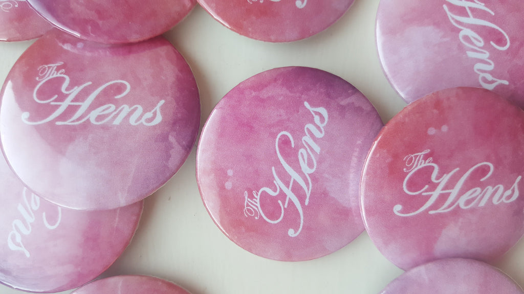 Watercolour Hen Badges / Button for Hen Night - The Party Postman