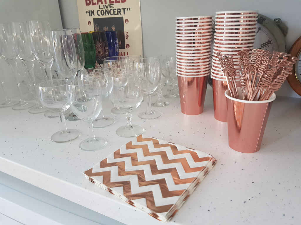 Rose Gold Foil Chevron Napkins