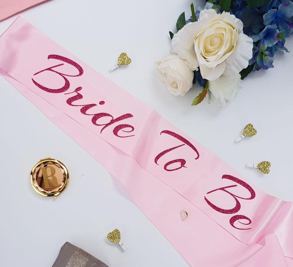 Pink Glitter Bridesmaid Bridal Party Sashes - Custom Colours and Position!