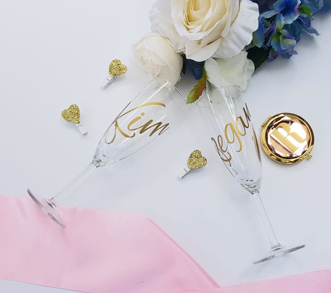 Personalised Champagne Flutes for birthday, christmas or bridesmaid proposal gifts