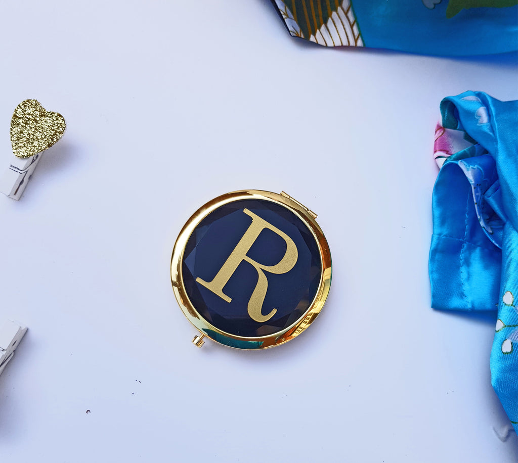 Rose Gold, Teal, Blue or Black personalized / monogrammed Compact Mirror for make up - bridesmaid or christmas gift