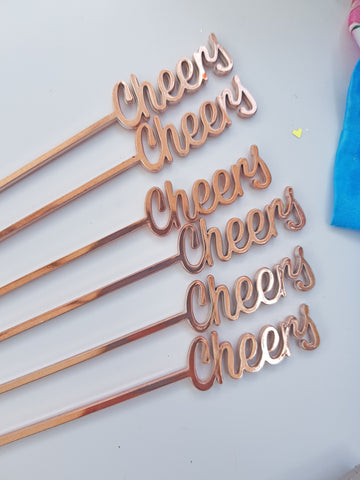 Rose Gold Cheers Plastic Drink Stirrers for Cocktails and Drinks