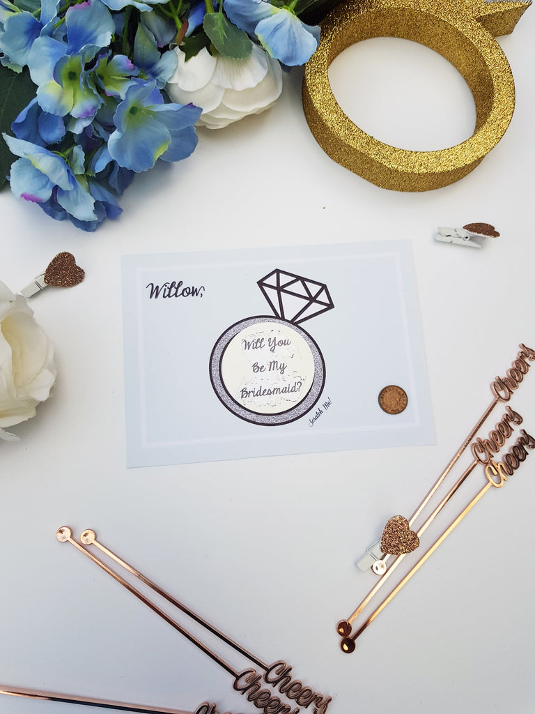 "Personalized Scratch off ""Will you be my Bridesmaid"" Proposal cards customized to your requirements Ask Bridesmaids, Maid of Honor Card"