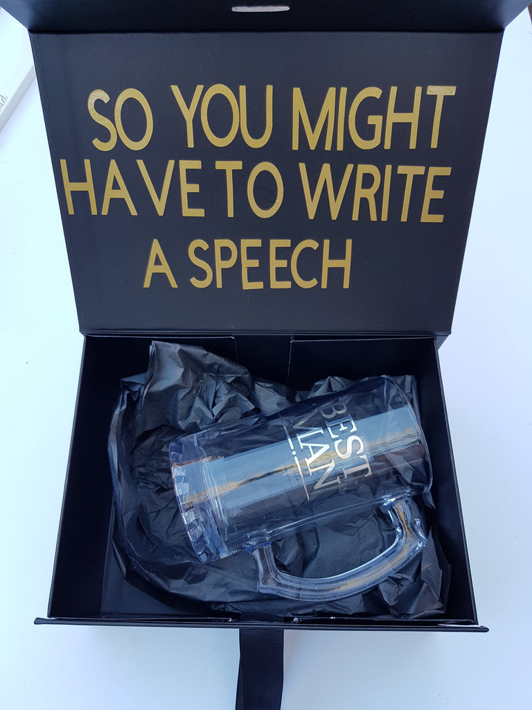 Black Personalised Gift Box for Birthday, Groomsmen / Usher and Best Man Proposal or Christmas gift Box