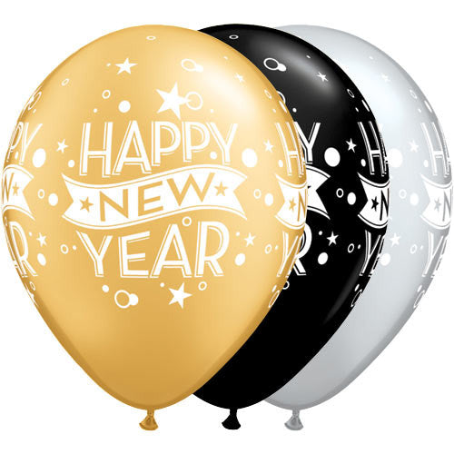 Gold, Black & Silver New Years Confetti Balloons