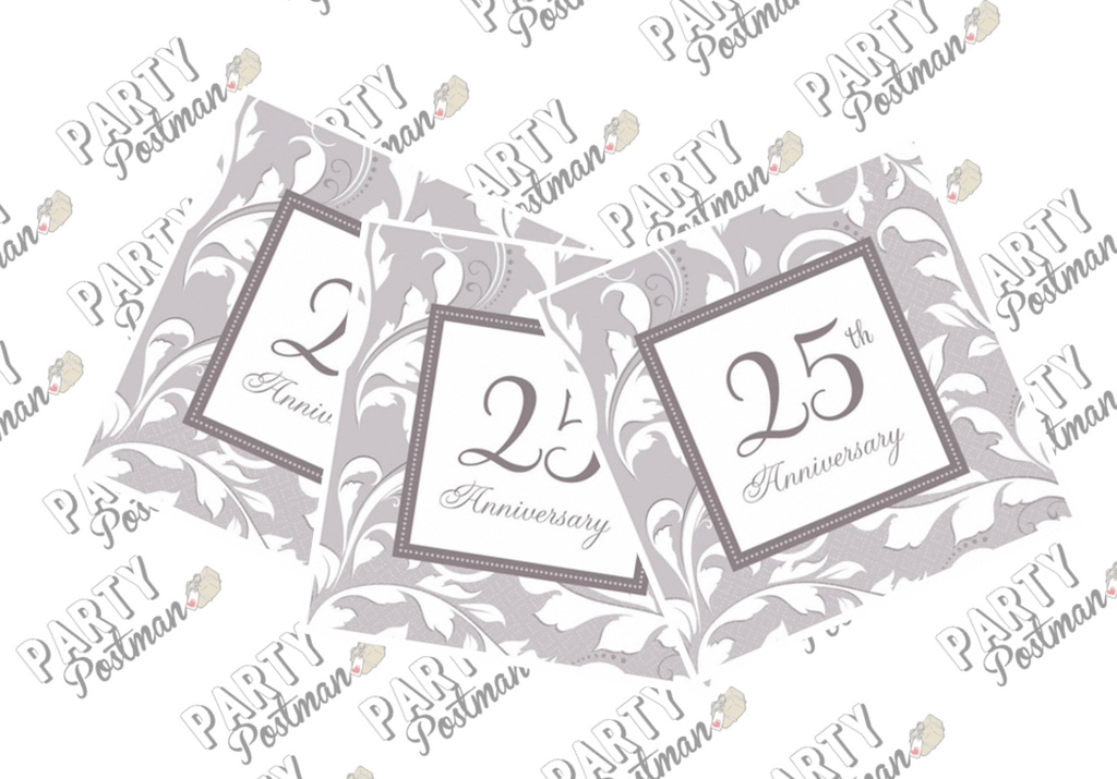 25th Wedding Anniversary Paper Napkins - The Party Postman