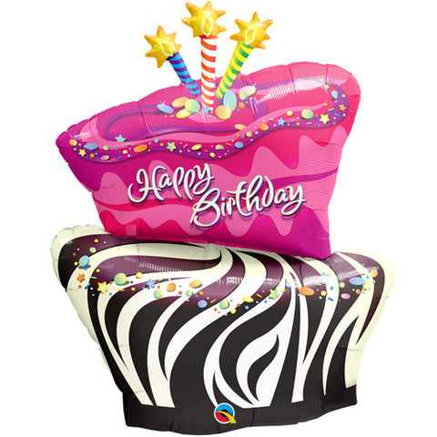 "41"" Birthday Funky Zebra Stripe Cake Foil Balloon - The Party Postman"