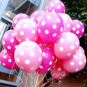 Pink and fuchsia / bright pink polka dot party balloons - The Party Postman