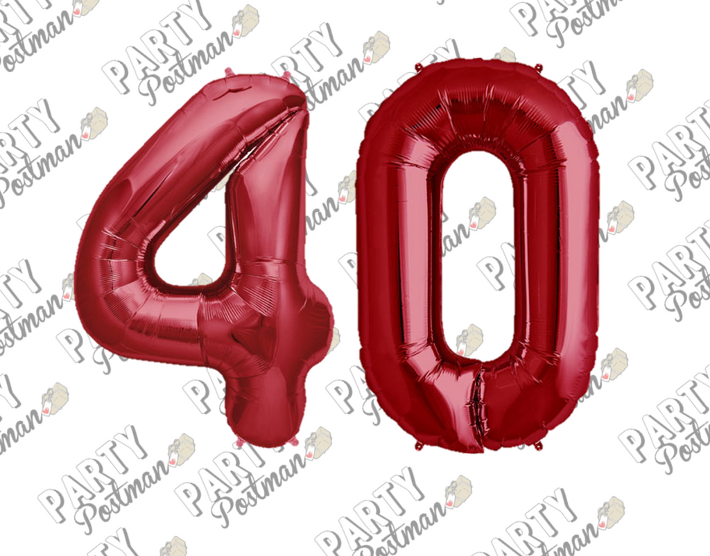 Number 40 Red Large Foil Number Balloons - The Party Postman