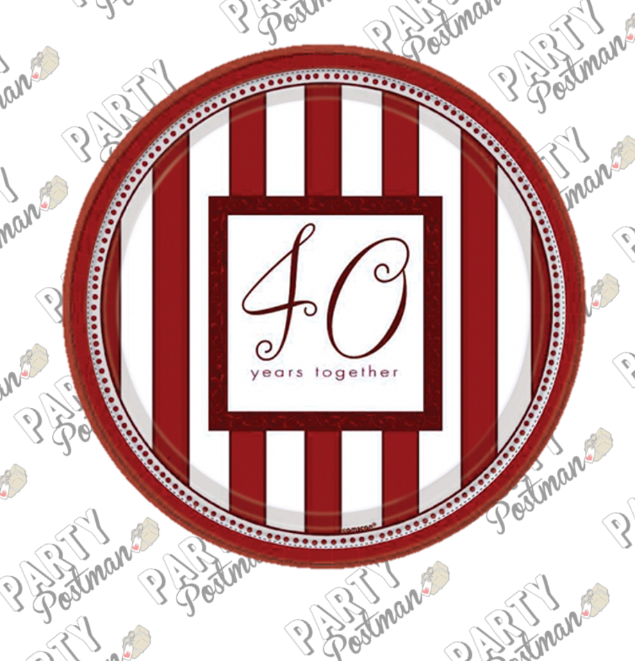 40th Wedding Anniversary Paper Plates - The Party Postman