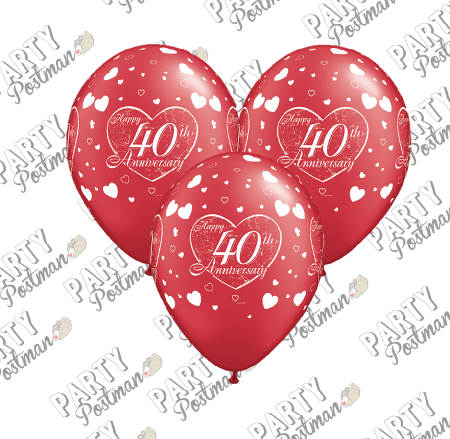 11 inch Red 40th Wedding Anniversary Balloons - The Party Postman