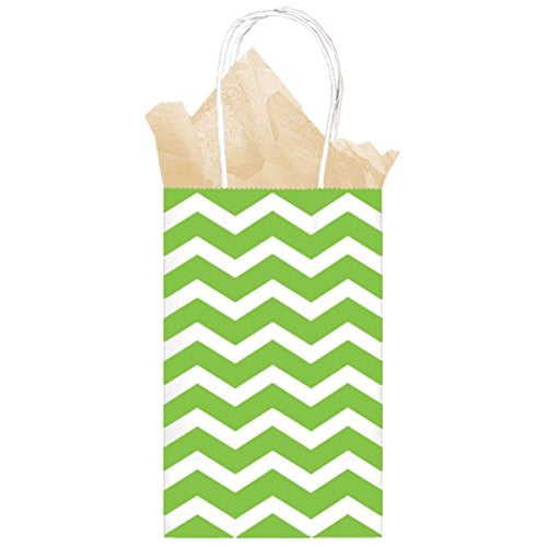 Kiwi Chevron Paper Gift Bags 21cm x 13cm x 9cm - The Party Postman