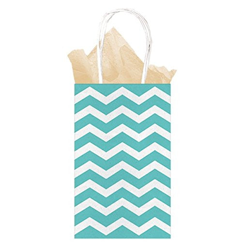 Teal / Mint Blue Chevron Paper Gift Bags 21cm x 13cm x 9cm - The Party Postman