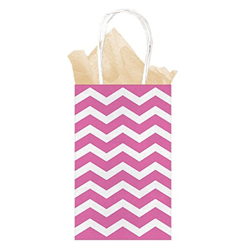 Bright Pink Chevron Paper Gift Bags 21cm x 13cm x 9cm - The Party Postman