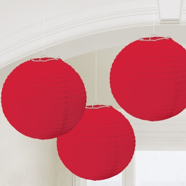 3 x Red Paper Lanterns - The Party Postman