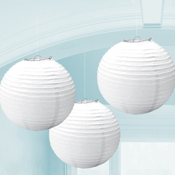 3 x White Paper Lanterns - The Party Postman