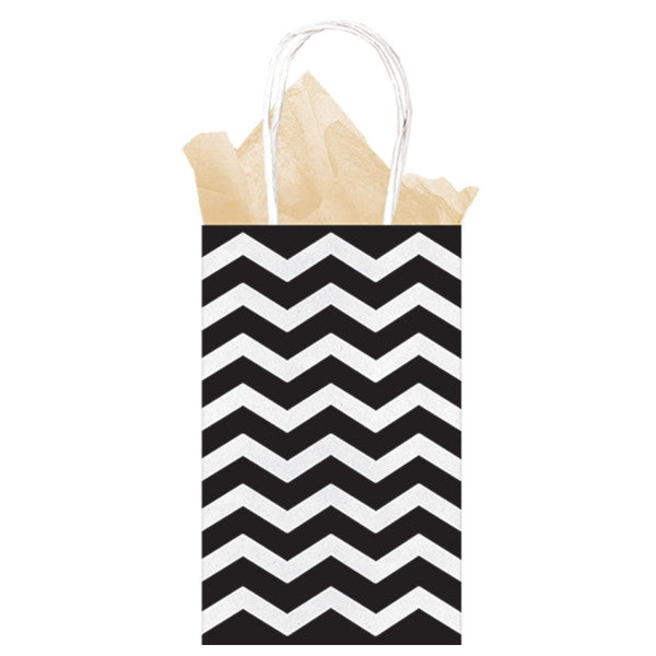 Black Chevron Paper Gift Bags 21cm x 13cm x 9cm - The Party Postman