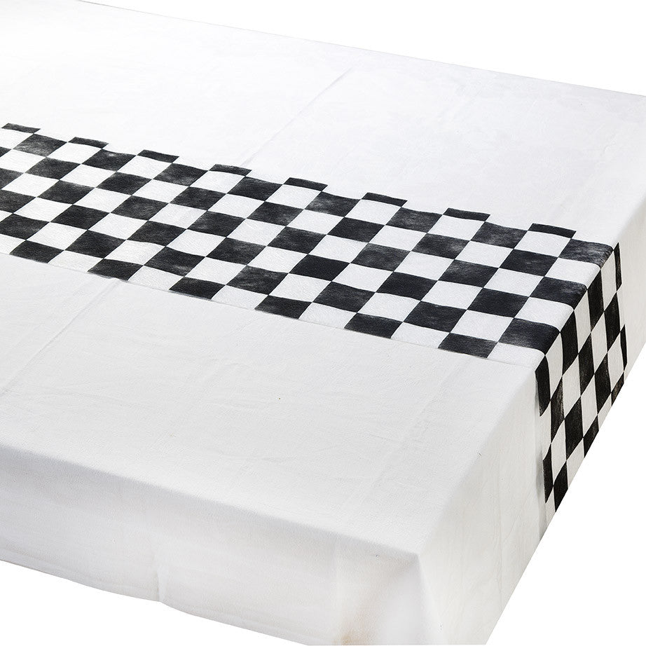 Alice in Wonderland Mad Hatter Sports black and white check table runner - The Party Postman