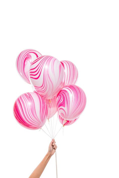 Marbled Balloons in pink red and white - The Party Postman